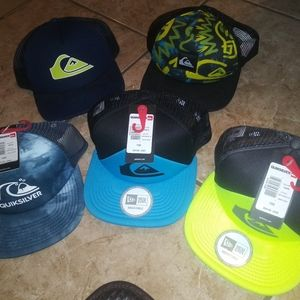 5 Quicksilver Snapbacks::3 New/2 Used(once)::